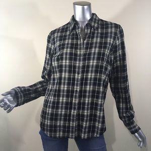 Chaps Women's Medium Black Plaid Flannel Shirt